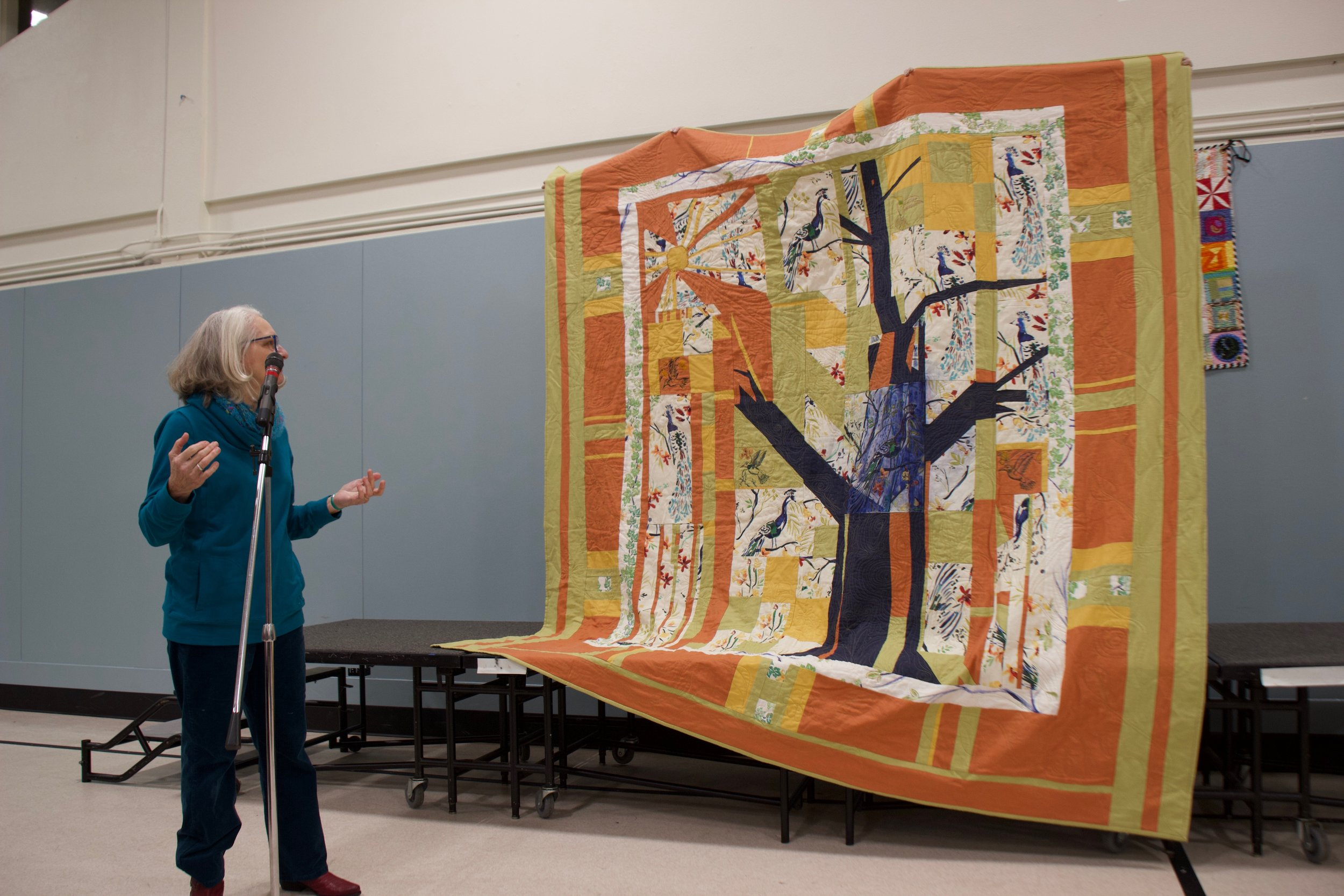 Tree Quilt with Peacocks by Maryann Todd-Thompson