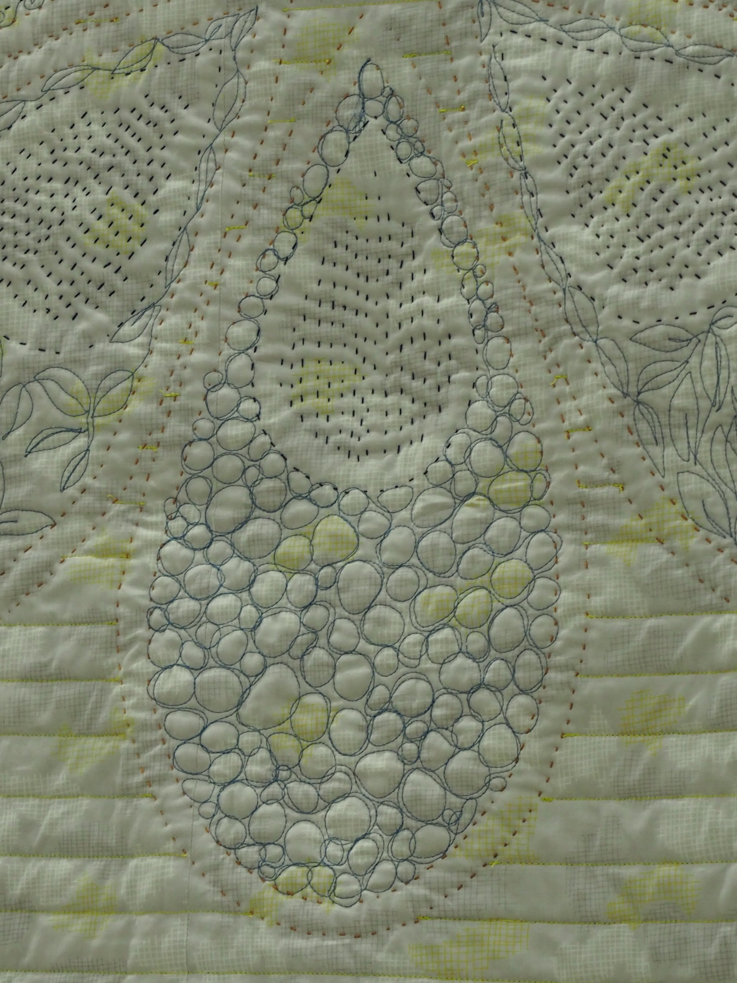 Quilting detail of Naupaka by Kristin Laflamme