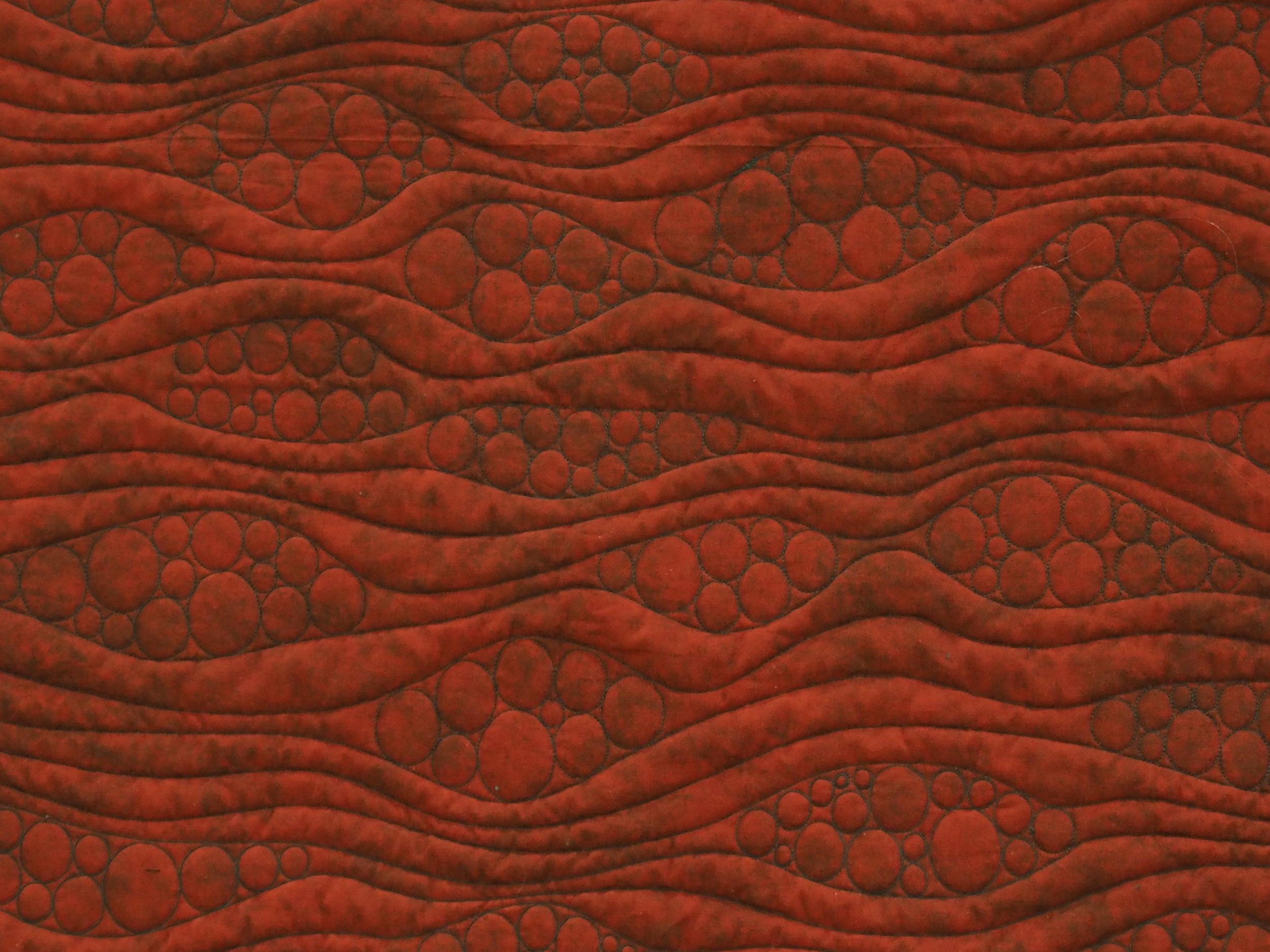 Quilting detail of On Ringo Lake by Elisa Corcoran