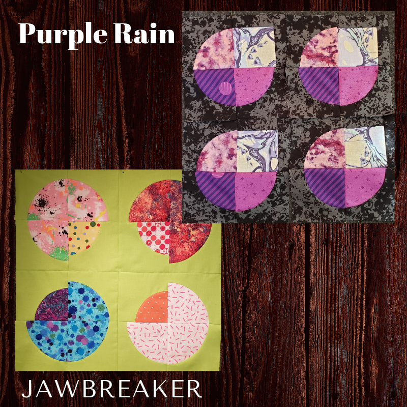 """JAWBREAKER & PURPLE RAIN - The Jawbreaker block was created by Heather Black and published on the MQG website as the September 2018 quilt of the month. The 24"""" size is made as created by the designer, while the smaller 12"""" block has been modified to be smaller. There is a local option of a free block pattern offered here of the 'Purple Rain' quilt block, click on the button below to open the pattern."""