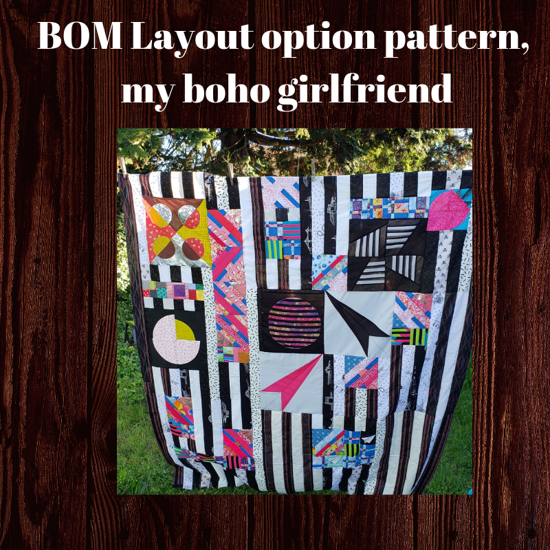This layout pattern has been created as an option to bring the blocks of the month together. - We were inspired by the popular Jen Kingwell pattern that is on our quilting bucket list, to create this modern option called, 'My Boho Girlfriend. It is great for pulling together blocks of the month, orphan blocks, or even just for showing off your favorite scraps of prints. Pattern coming soon, and a quilt along (hopefully) happening this fall, stay tuned.