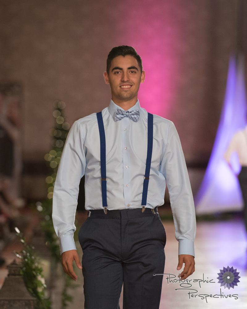 Stephen Geoffrey Slate Blue Pant, Blue Formal Shirt, Blue Suspenders, Striped Blue Bow Tie