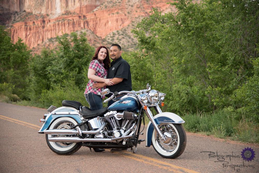 Jemez Mountains Engagement Session | New Mexico Photographers | Photographic Perspectives | Harley Davidson Engagement