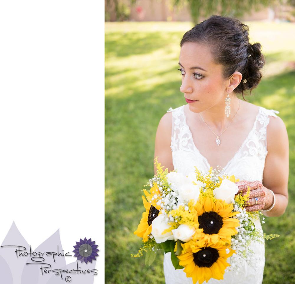 Bridal Portrait | Sunflower Bouquet | Albuquerque Wedding Photographers | Photographic Perspectives | New Mexico Bride | New Mexico Wedding Photography