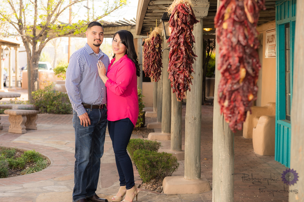 Photographic Perspectives | Albuquerque Old Town Engagement | New Mexico Engagement Photographers | Chile Ristra