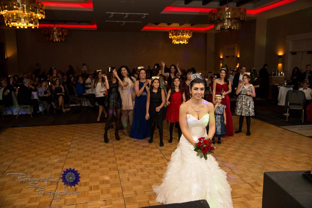 Hotel El Dorado, wedding reception, bouquet toss, single ladies