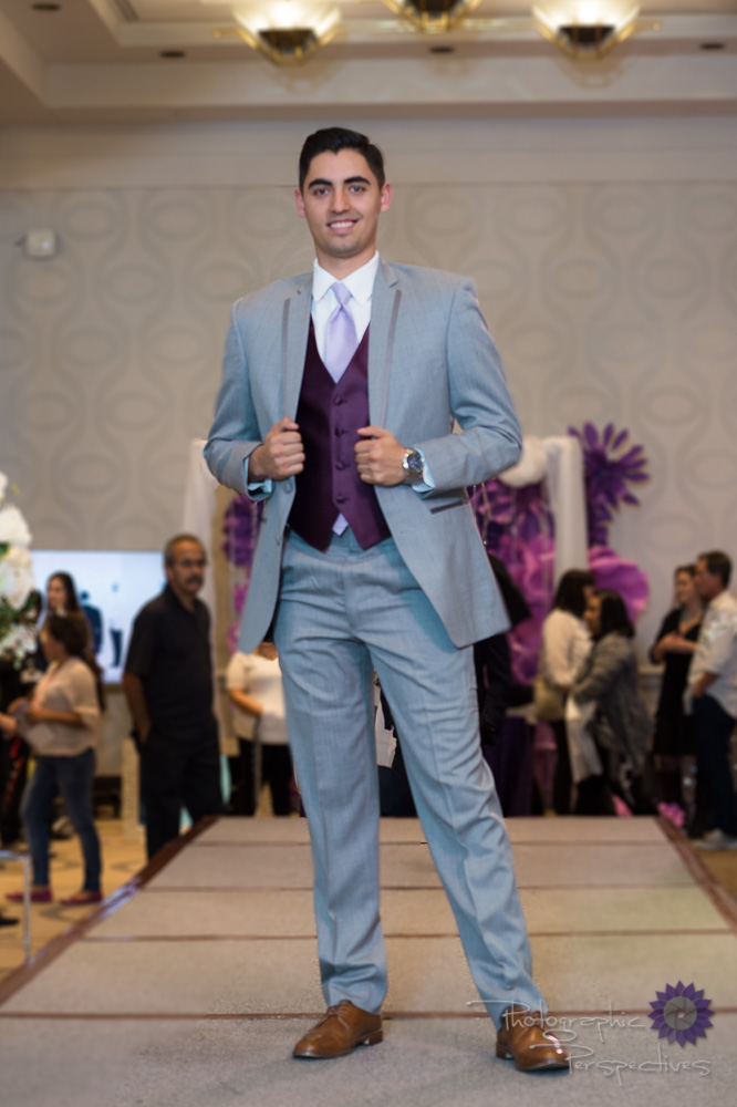 Stephen Geoffrey  Heather Gray Tuxedo with Viola Vest & Lavender Tie
