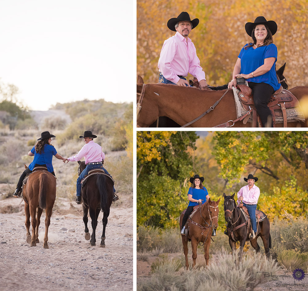 Horse back riding along the Rio Grand river during a fall photoshoot to celebrate their anniversary and capture the memories of a beautiful evening.
