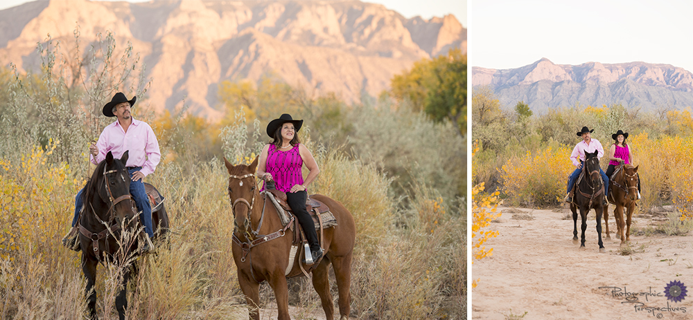 A sunset horseback ride in the Rio Grande Bosque for an anniversary photoshoot