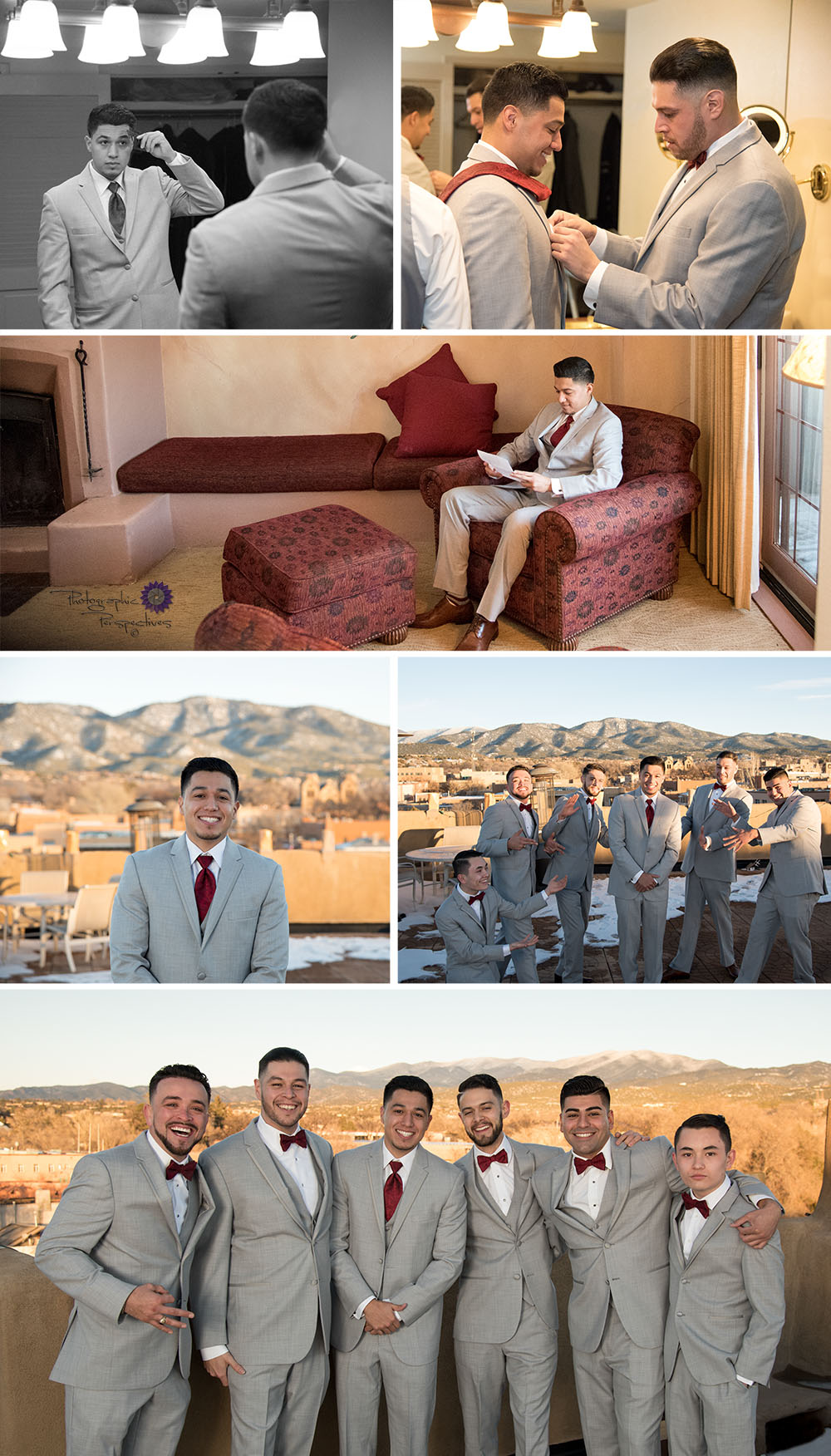 Eli prepared for his bride with his friends. Looking Stylish in their grey suits and red bow ties.
