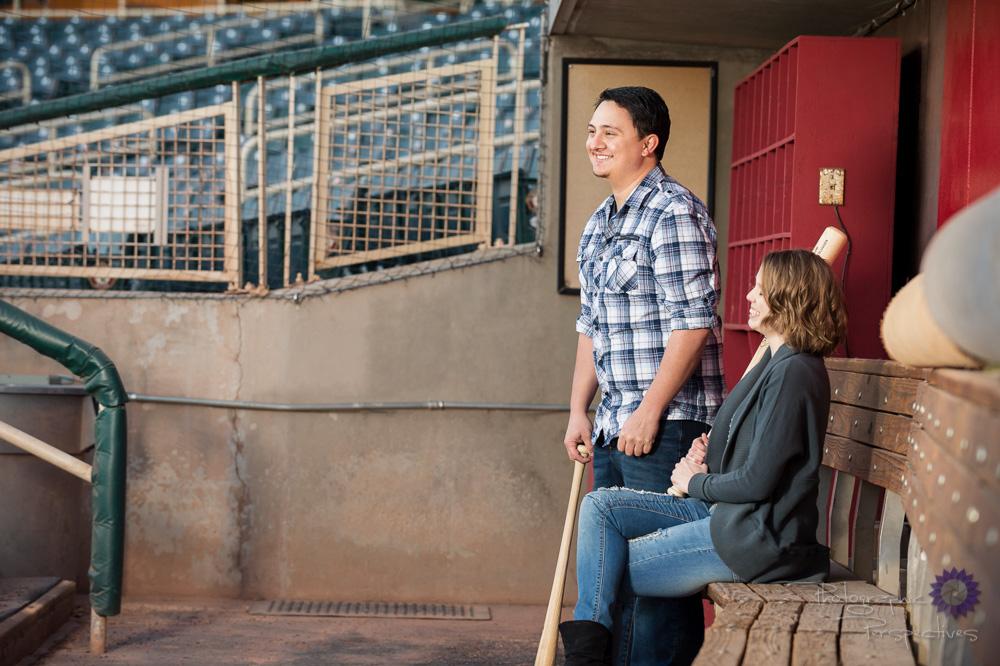 Fun Engagement Photos | Baseball Themed Engagement Session