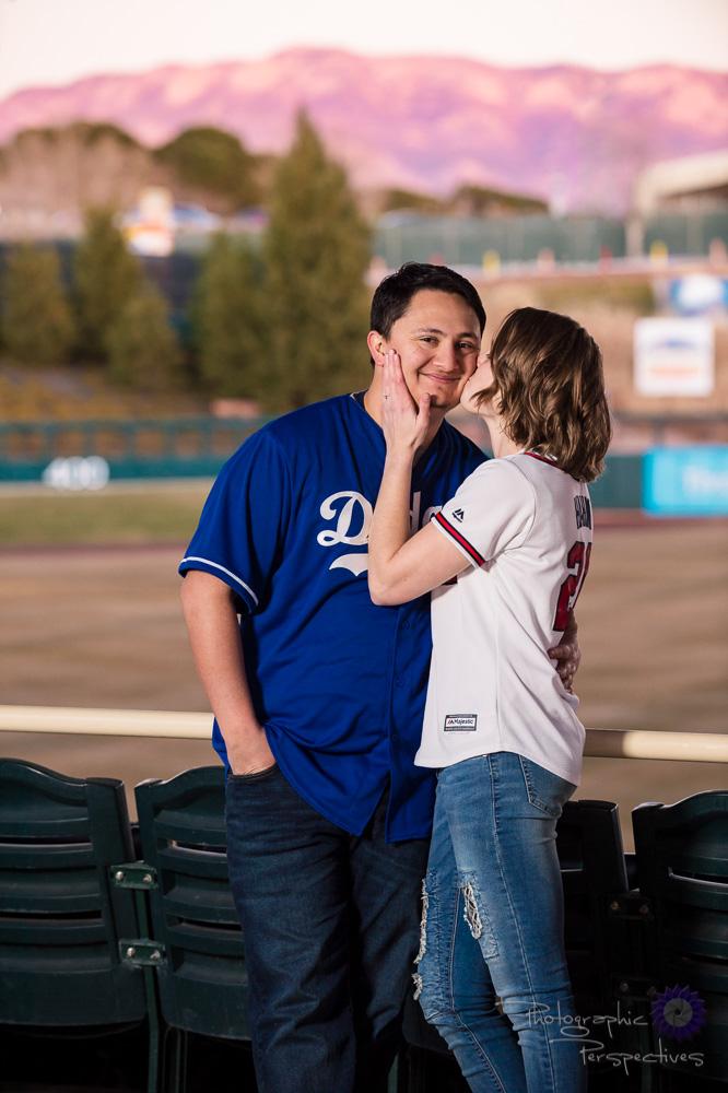 Baseball Stadium Engagement Photoshoot