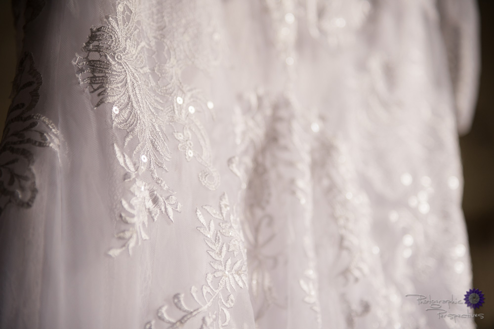 Elegant lace wedding dress detail