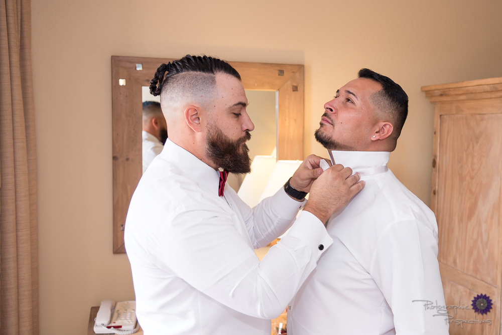 Groom Prep | Hotel ABQ Wedding | Best Man helping groom get ready for his big day