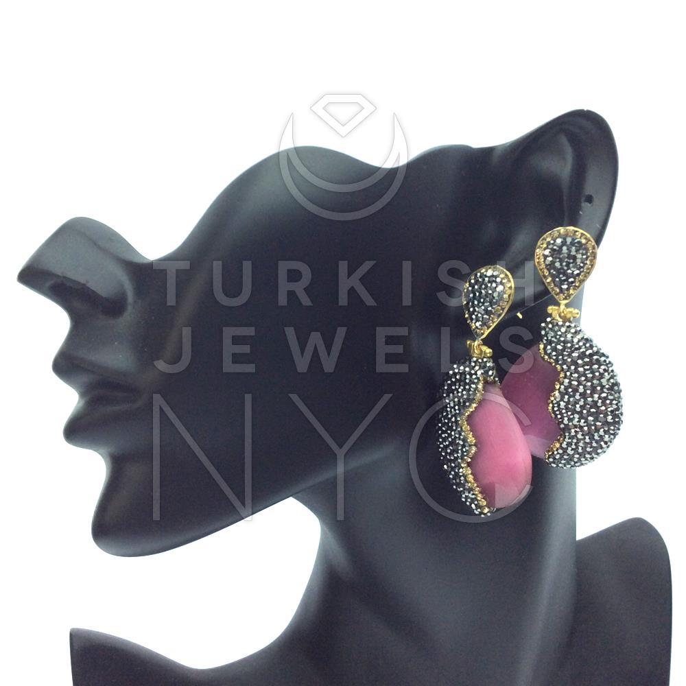 Pink Long earrings with Swarovski 3.jpg