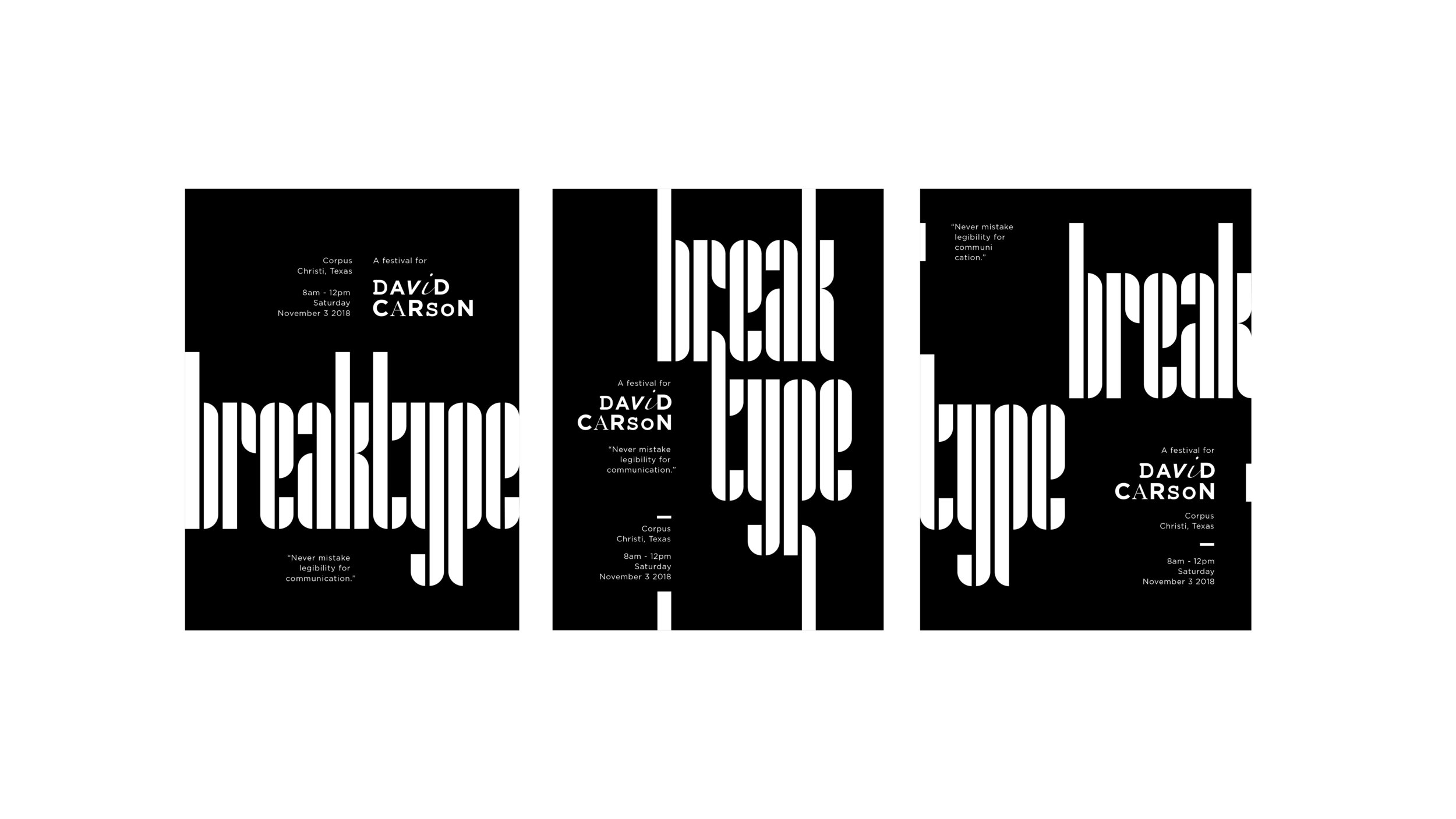 Break type festival poster black and white iteration | Max Li, Freshman