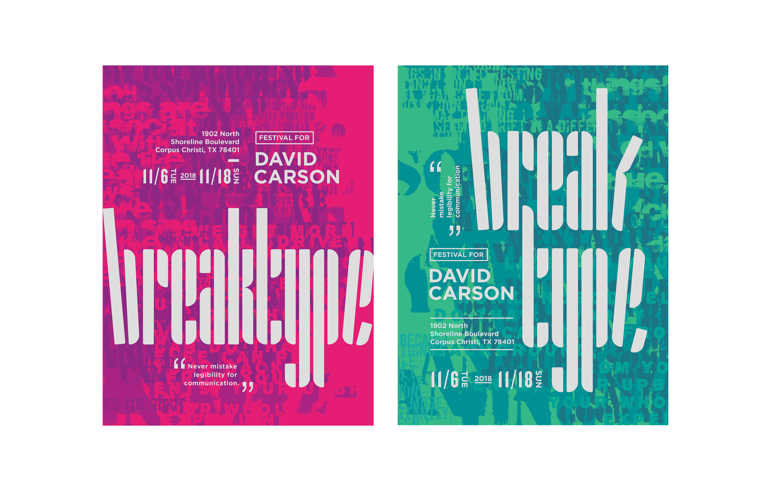 Break type festival poster color iteration | Max Li, Freshman