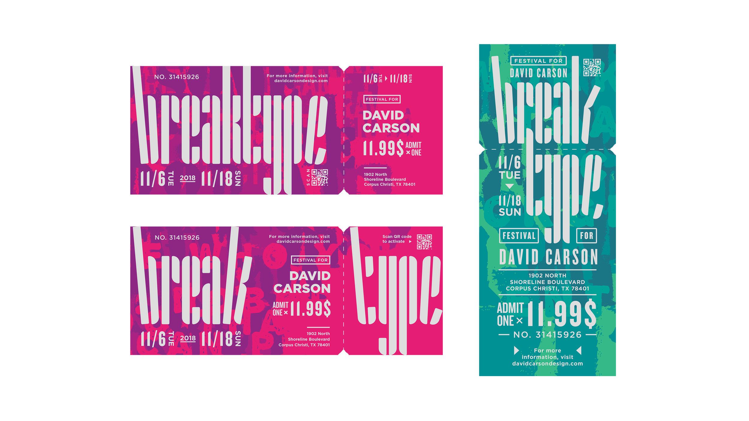 Break type festival ticket color iteration | Max Li, Freshman