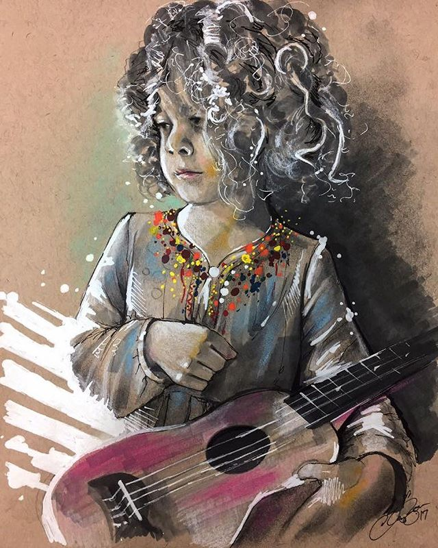 A quick sketch of the curly haired Quinn. Mixed media on toned paper, mostly marker, graphite, and pastel with a little acrylic thrown in.