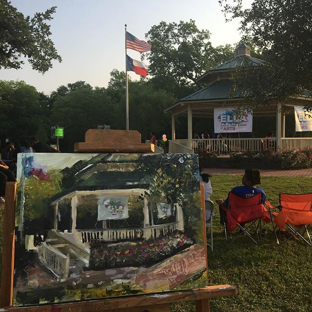 The finished product of Clayton's en plein air painting at the Eagle Lake League of Arts's birthday celebration.