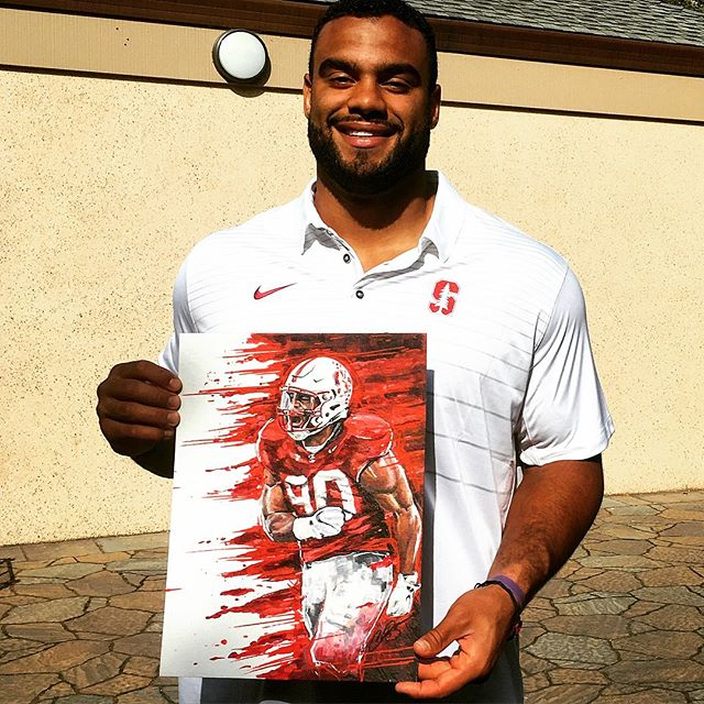 So awesome! My good friend @g_wolfey sent me this pic yesterday. I did some original artwork for @stanfordfball and he got @sollythomas90 to pose with it... Garrett you're the man, thanks for getting me these great opportunities to showcase my art... the next pic is the end product with Coach Shaw's signature. Thanks again Garrett, Solly, Coach Shaw and Stanford football, here's to a lot more artwork in the future!