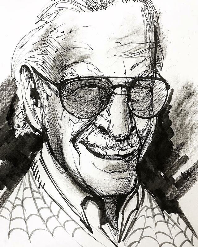 Sad day in the comic book world... Stan Lee brought us characters like Spider-Man, the Hulk, Iron Man, the X-Men, and so many more... he will be missed, and Marvel movies just won't be the same without his amazing cameos. Quick sketch with pen and ink and charcoal on paper #excelsior #stanlee