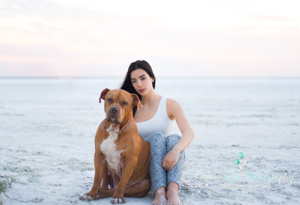 Karine and her furry friend Moonpie Siesta Key Beach Pet Photography