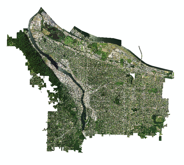 A composited NAIP image of the city of Portland, OR in 2014 displayed in true color (R = Band 1, G = Band 2, B = Band 3).