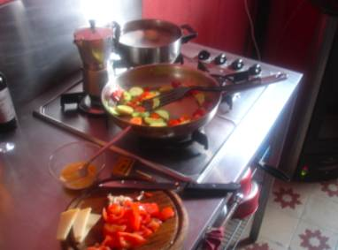 cooking lunch