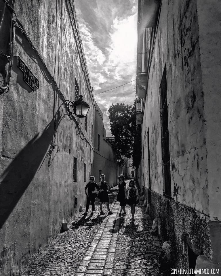 black and white posing in the street Jerez.jpg