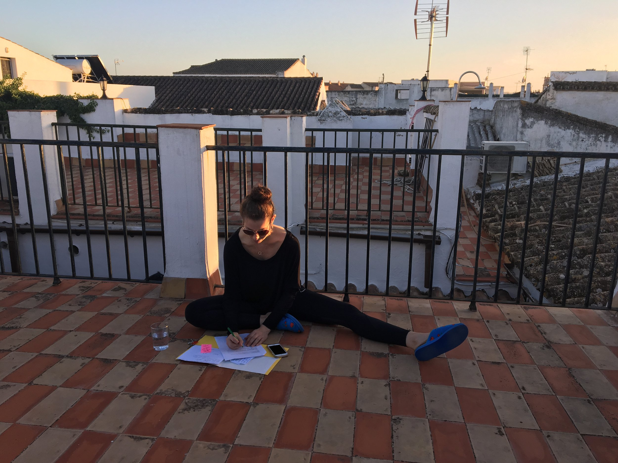 Laura on the roof at an important meeting.JPG