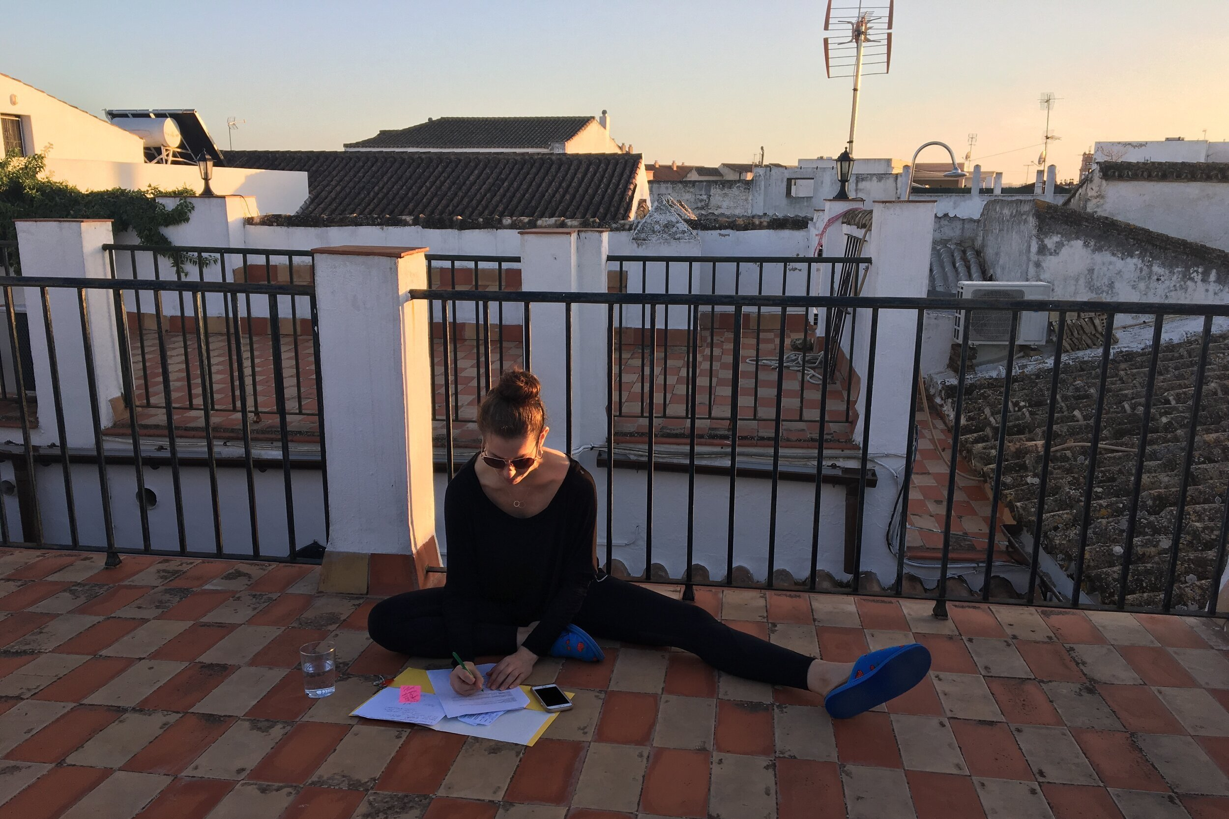 Working on the rooftop in Jerez, Spain during the Flamenco Tour to Jerez (photo by Tonya Edgren)