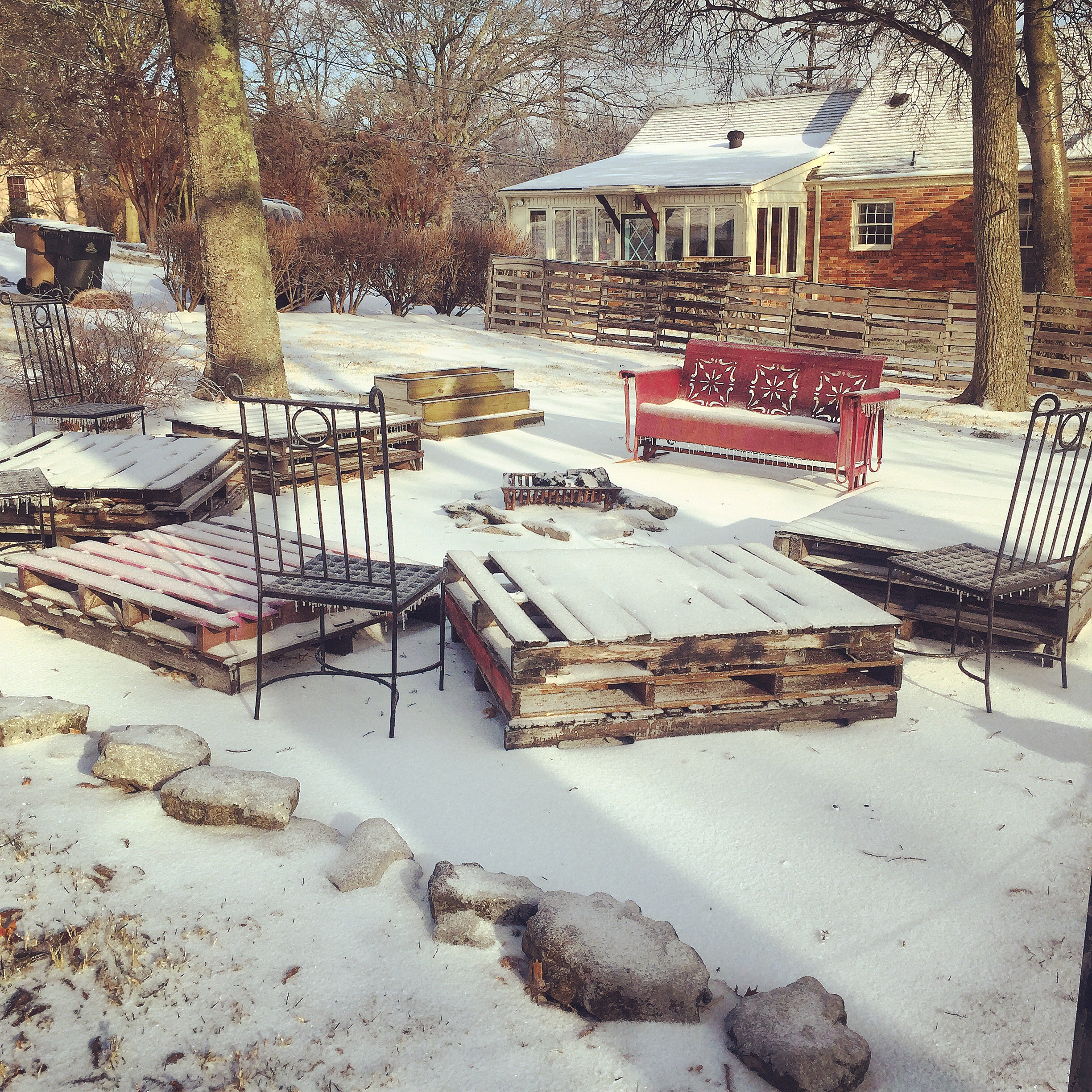 the fire pit in winter.