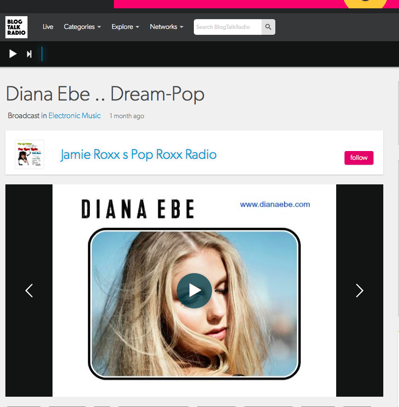 Diana Ebe talks about Los Angeles and her single Elusive Please at Pop Roxx Radio