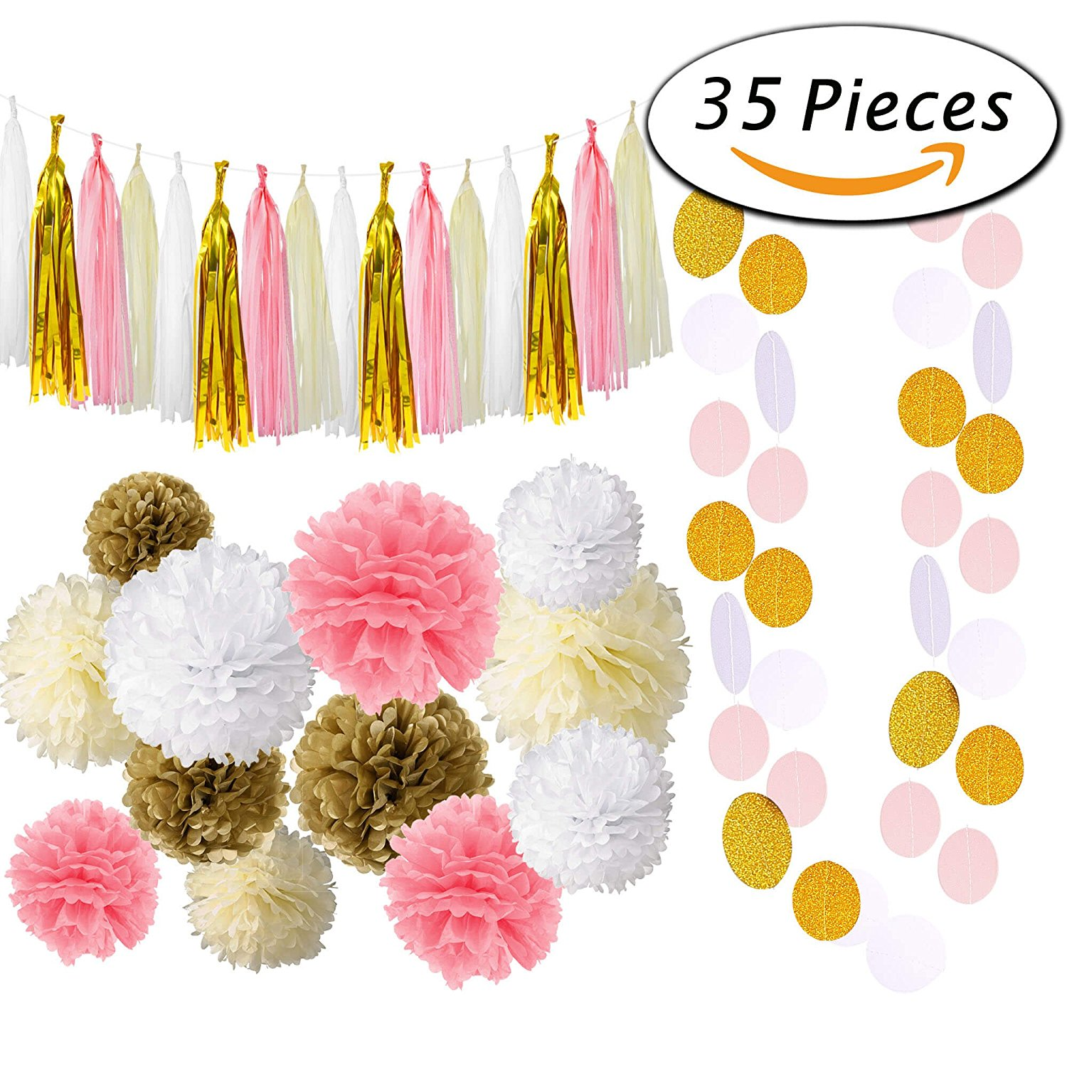 Currently available on Prime for $15.99 - WARNING: You have to fluff the poms and create the tassle garland yourself! Time-consuming, but worth it!