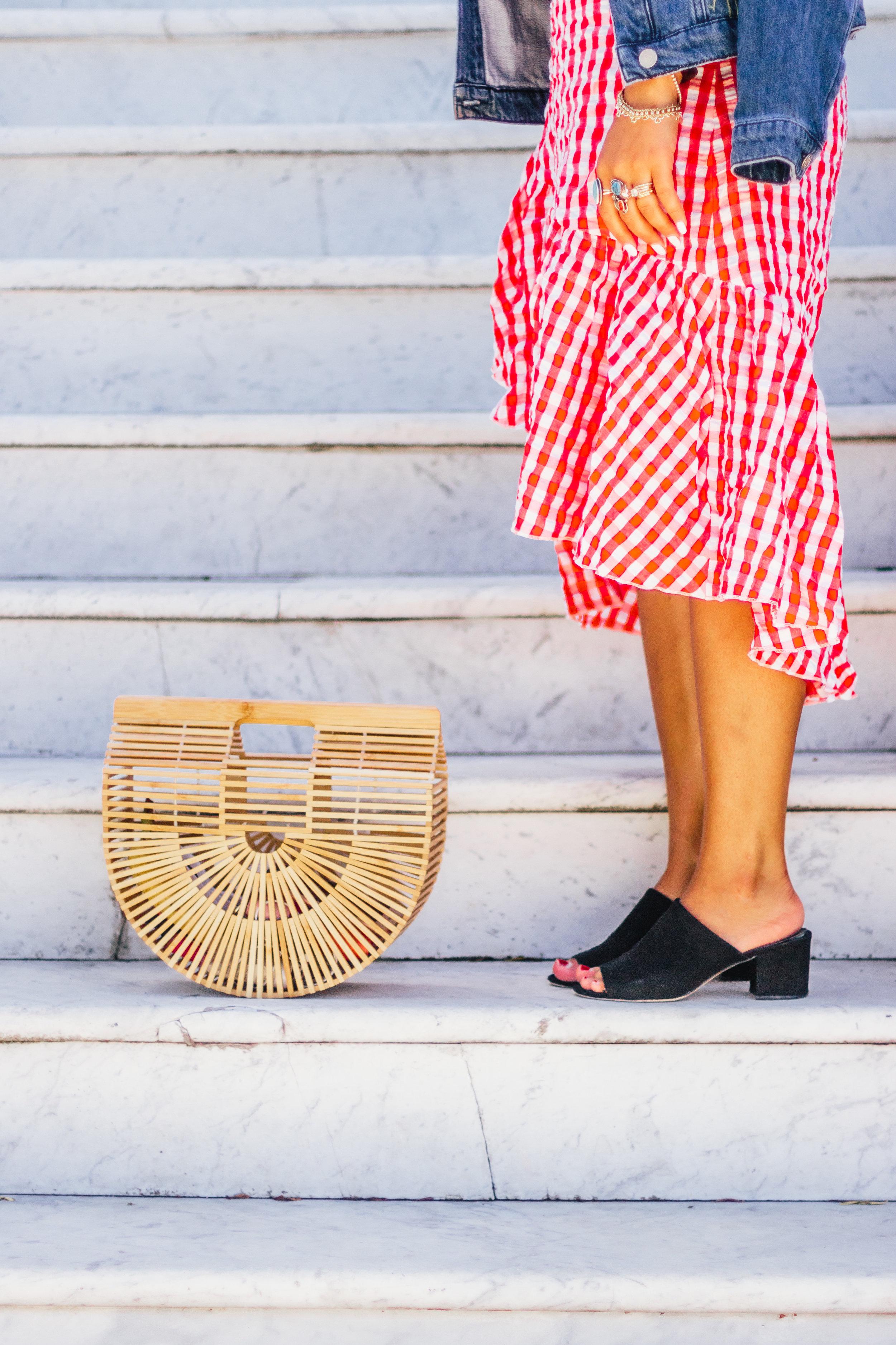 red-gingham-midi-skirt