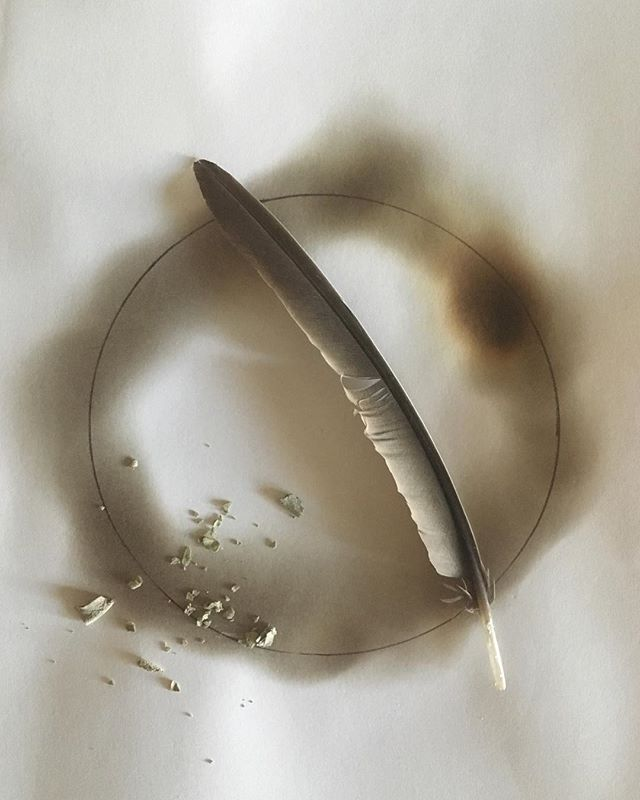 """Shadows"" by Laura Cerrano, 2018, #mixedmedia  #artnyc,#artiststudio,#photography,#firepainting,#circle,#graphite,#whitesage,#feather,#sacredgeometry,#minimalist,#minimalistart,#contemporary,#abstract,#fengshui,#fengshuibylauracerrano"