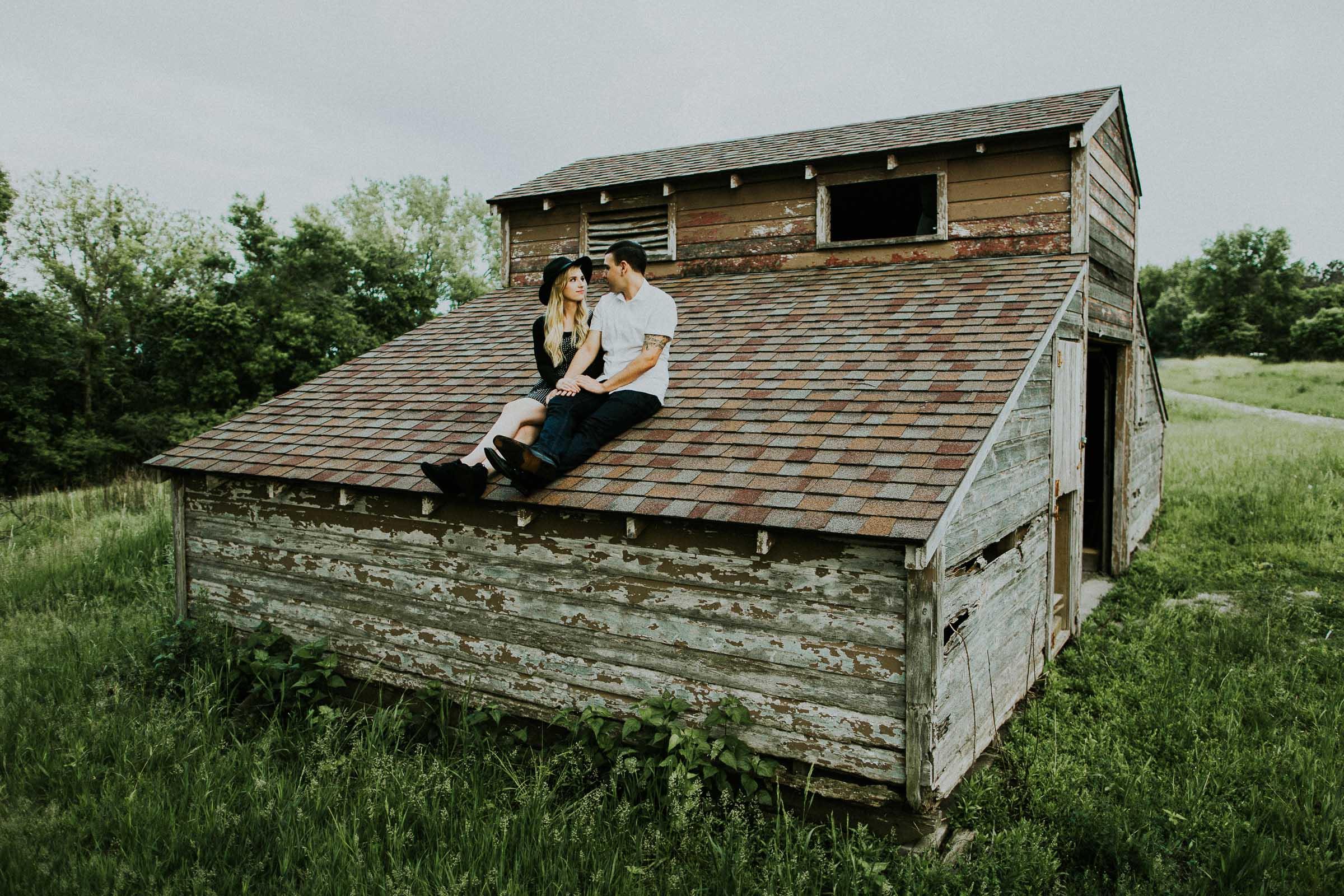 Aaron + Johanna  Neal Woods Barn Engagement Session in Nebraska   VIEW