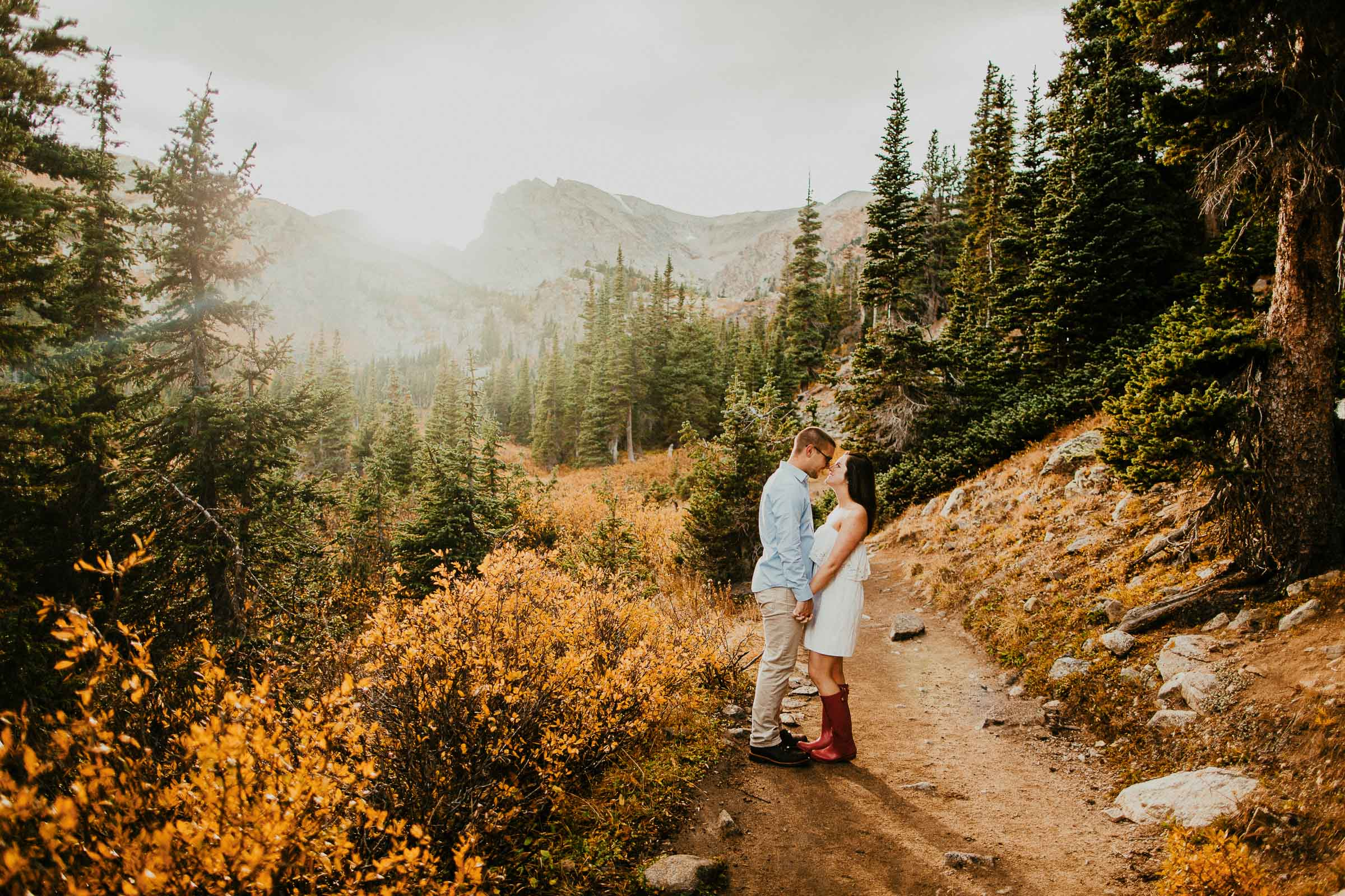 Joe + Bree  Lake Isabelle Trail Engagement Session in Colorado   VIEW