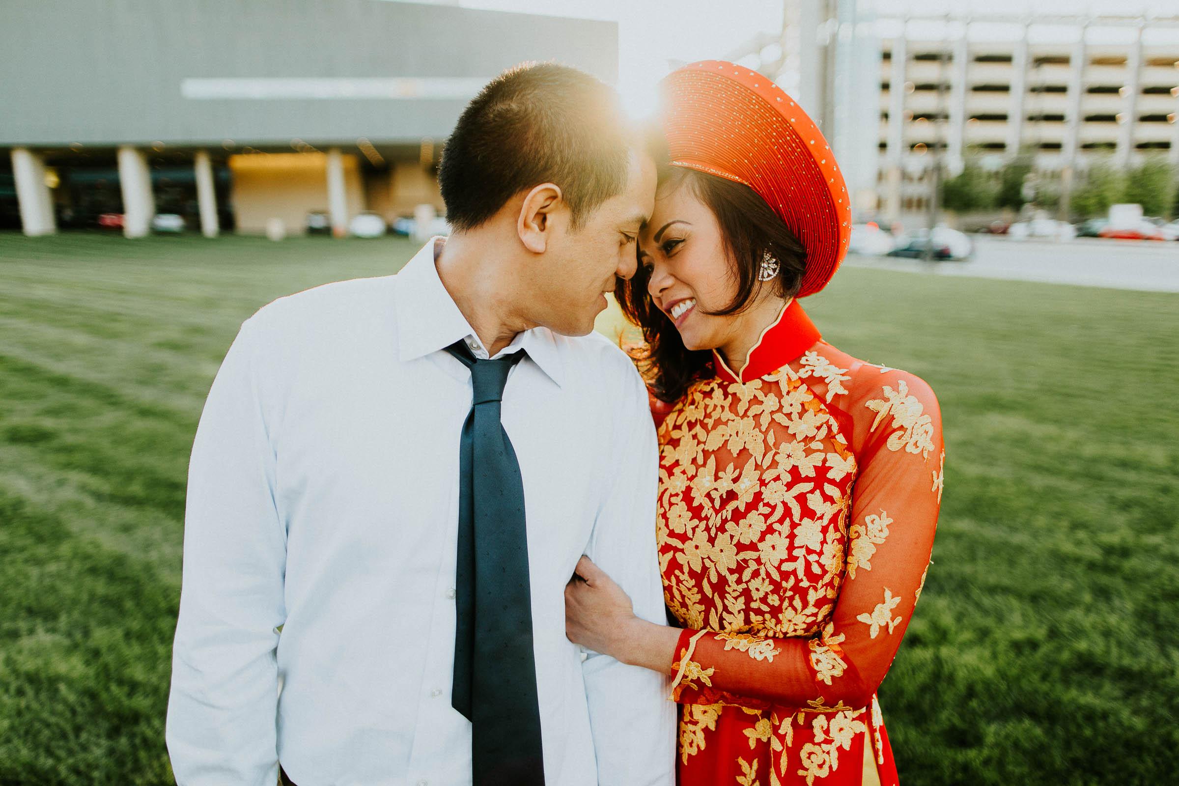 Steve + Tina  Vietnam Styled Engagement Session in Downtown Omaha, Nebraska   VIEW