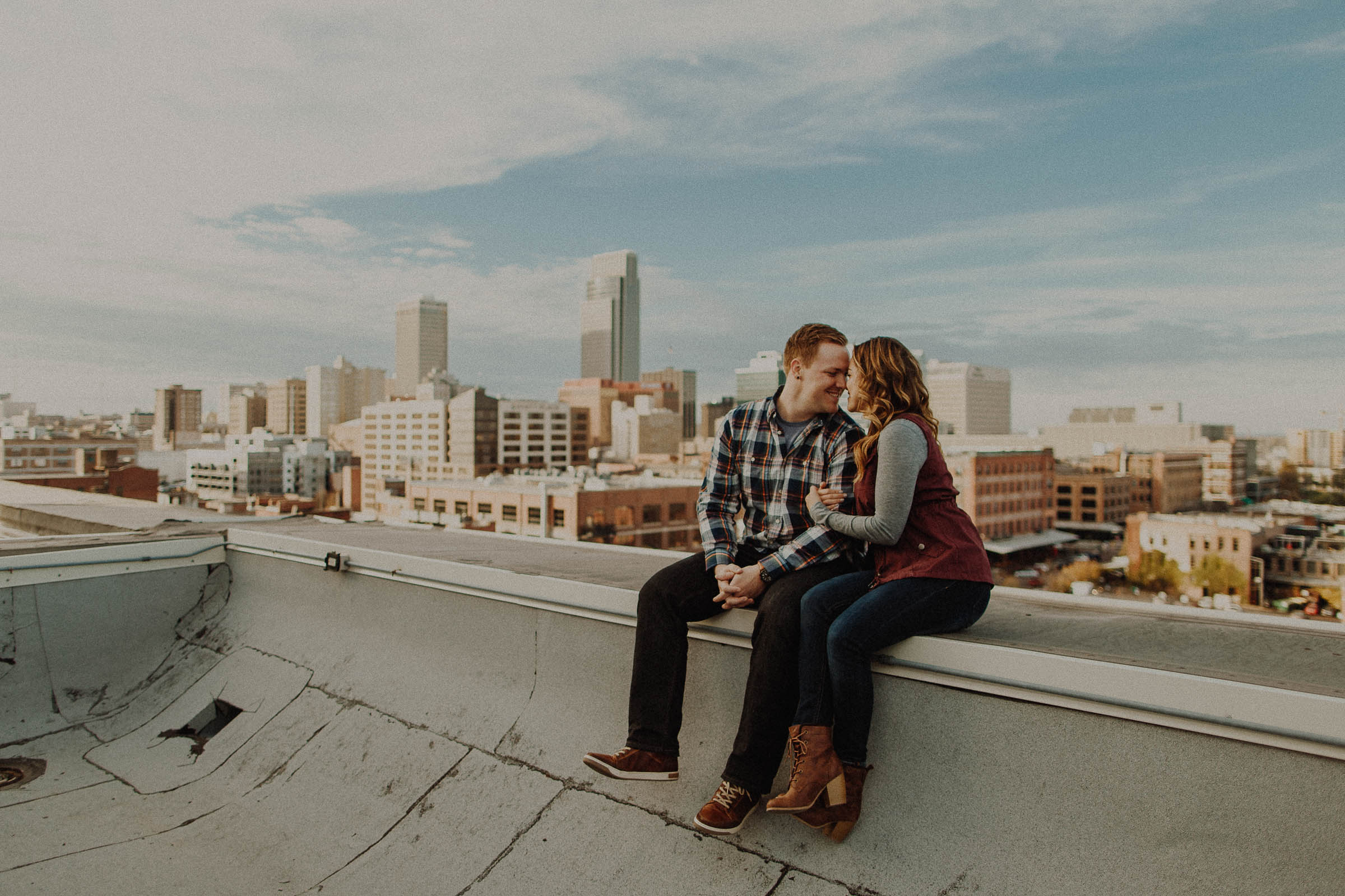 Andy + Bri  Downtown Omaha, Nebraska Engagement  VIEW