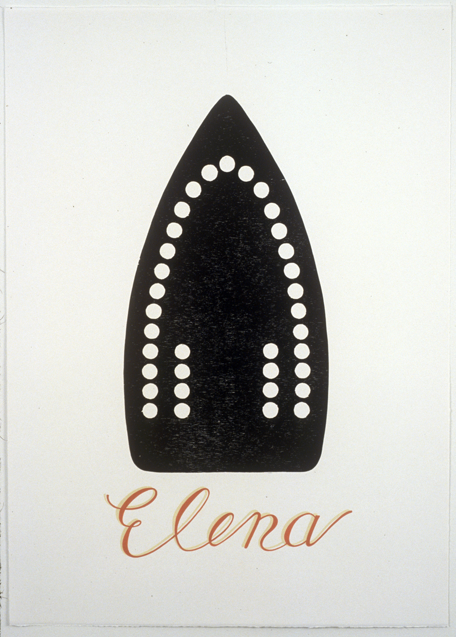 Venetian Boats: Elena , 2006, Woodcut with hand lettering in gouache, Edition of 3, 27-1/2 x 19-1/2 inches  printed on Magnani Incisioni at Tintoretto Studio, Venice Italy