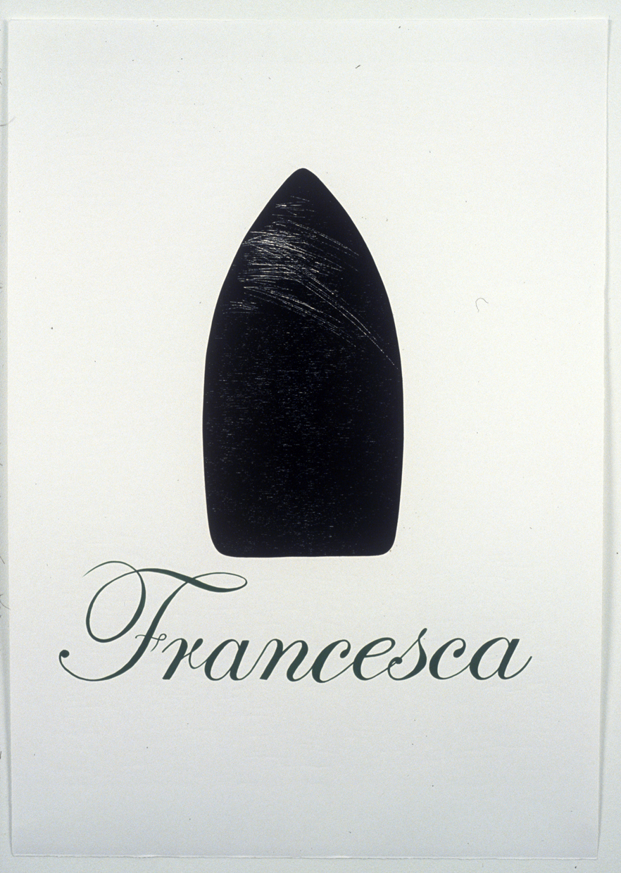Venetian Boats: Francesca , 2006, Woodcut with hand lettering in gouache, Edition of 3, 27-1/2 x 19-1/2 inches  printed on Magnani Incisioni at Tintoretto Studio, Venice Italy