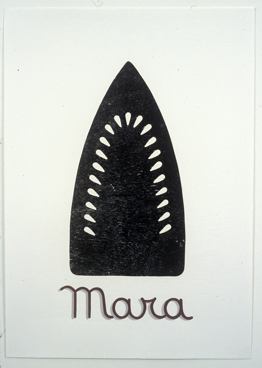 Venetian Boats: Mara , 2006, Woodcut with hand lettering in gouache, Edition of 3, 27-1/2 x 19-1/2 inches  printed on Magnani Incisioni at Tintoretto Studio, Venice Italy