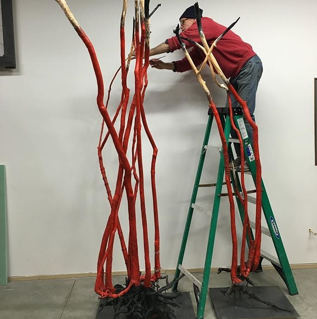 Finishing touches. #artistatwork #kingsleyparker #thompsongirouxgallery #artstudio