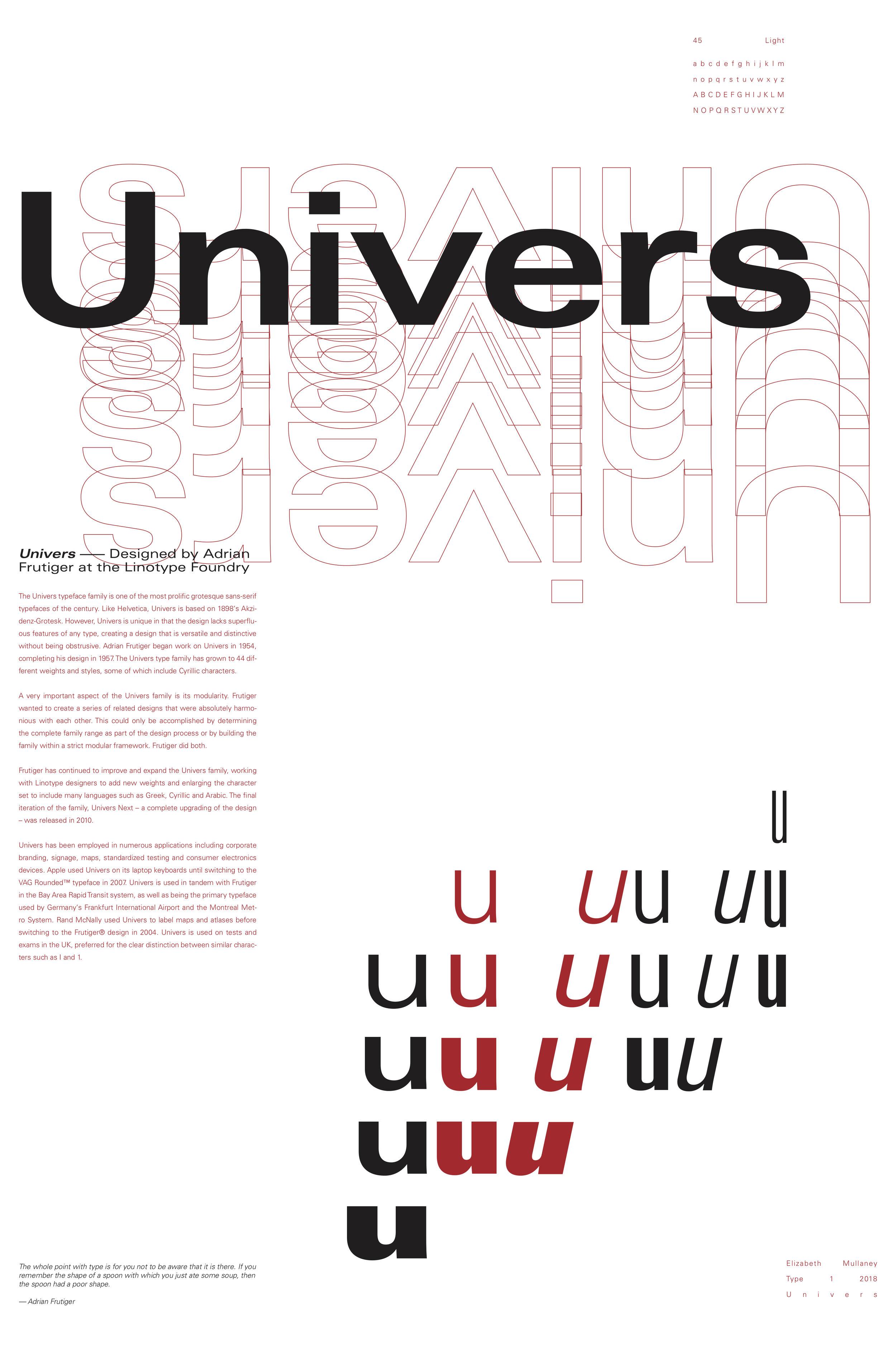Univers Typeface