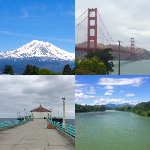 California, basically.  Clockwise: Mt. Shasta, Golden Gate Bridge, Shasta Lake, Manhattan Beach Pier