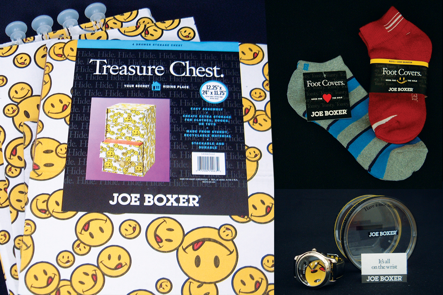 PACKAGING/NAMING  | Home and apparel SKUs for Joe Boxer lifestyle products.