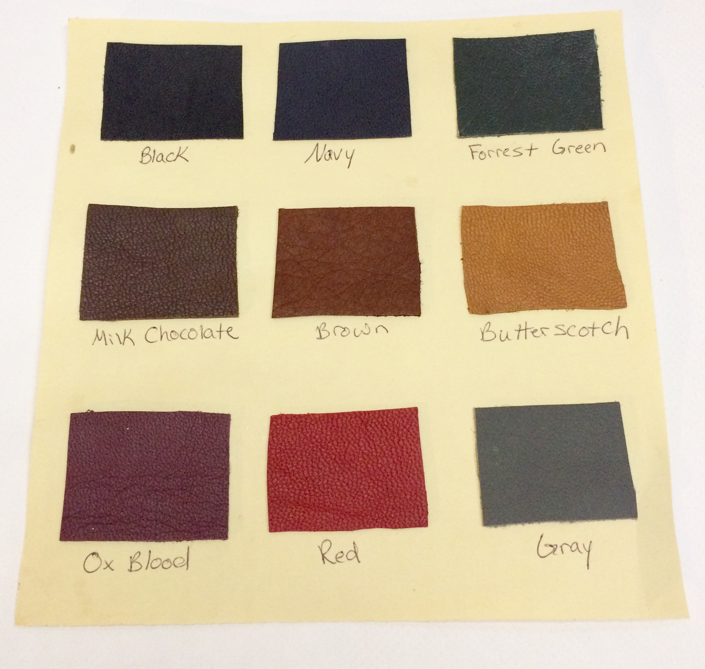 Basic stock of most commonly selected leathers