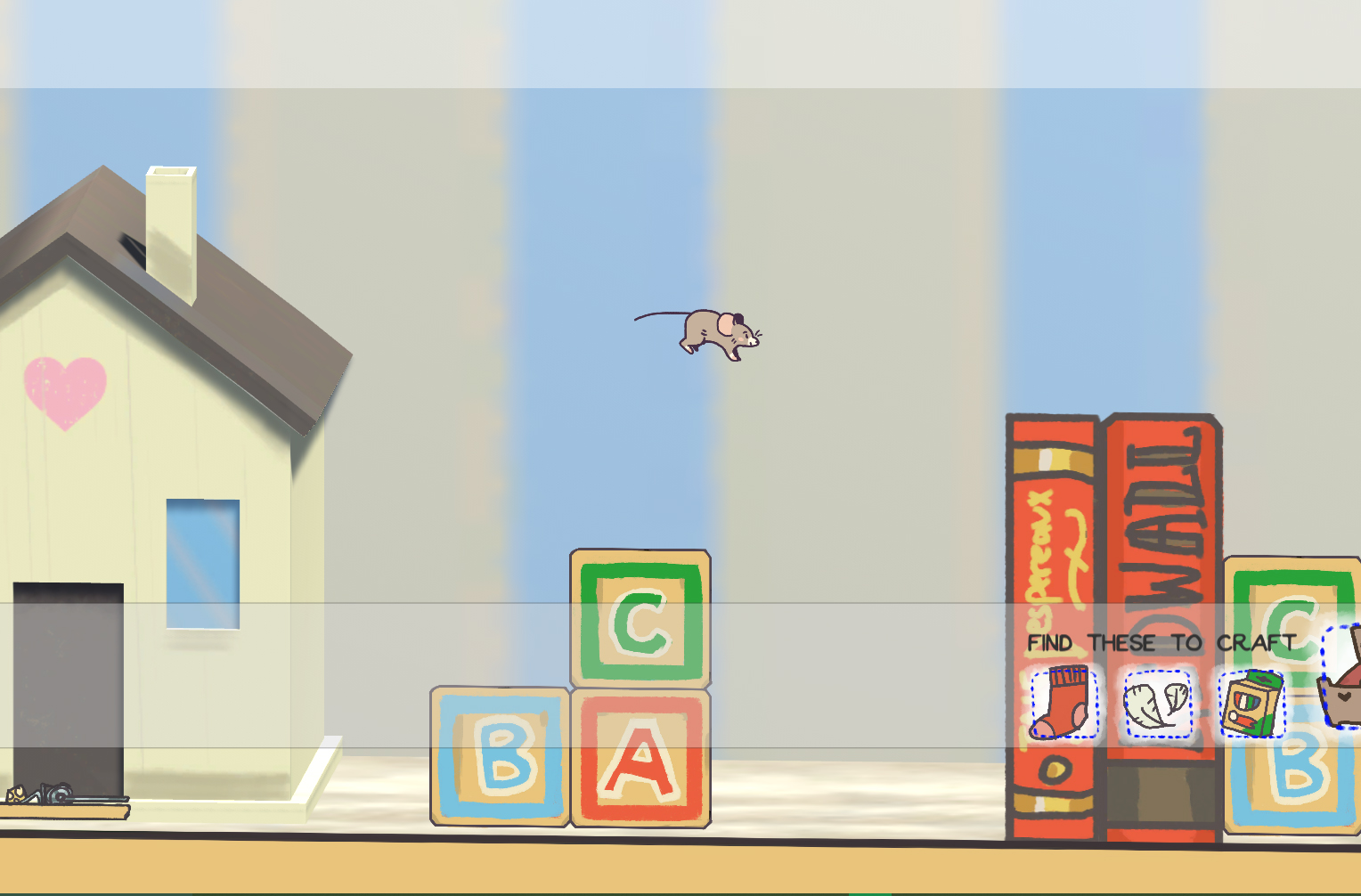 A screenshot of the first level of our game,  Mouse House